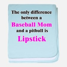 Baseball Mom Pitbull Lipstick baby blanket