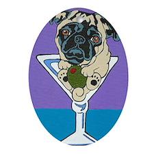 Fawn Pug Martini Oval Ornament