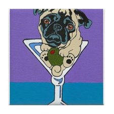 Fawn Pug Martini Tile Coaster