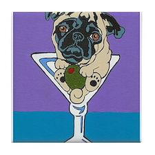 Fawn Pug Martini Tile Coaster