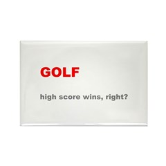 Golf High Score Wins, Right Rectangle Magnet (10 p