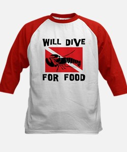 Will Dive For Food SCUBA Kids Baseball Jersey