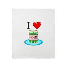 I Love Pickles Throw Blanket