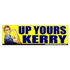 "Rosie Riveter ""Up Yours Kerry"" Bumper Bumper Sticker"