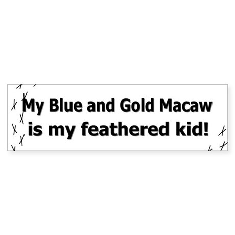 Blue and Gold Macaw Feathered Kid Bumper Sticker