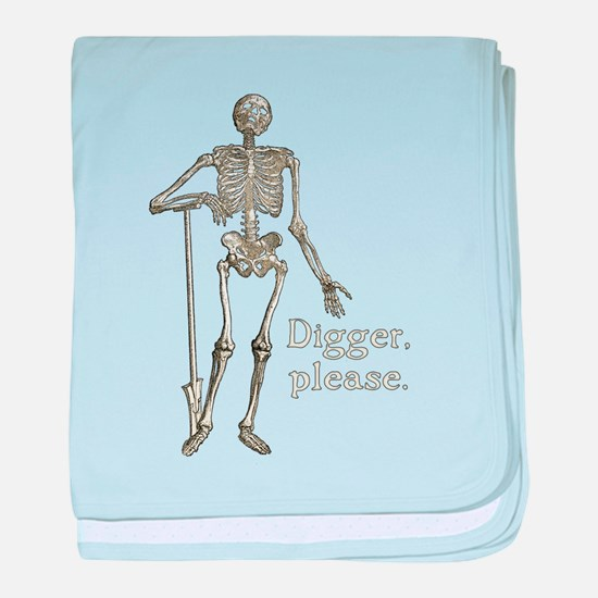 Digger, Please Funny Skeleton baby blanket