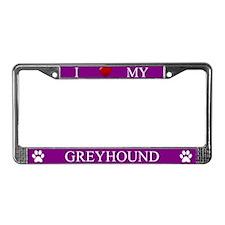 Purple I Love My Greyhound Frame