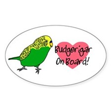 Budgerigar On Board Oval Decal
