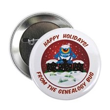 "Happy Holidays! From The Genealogy Bug 2.25"" Butto"