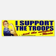 Rosie Supports The Troops Bumper Car Car Sticker