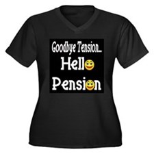 Retirement Pension Women's Plus Size V-Neck Dark T