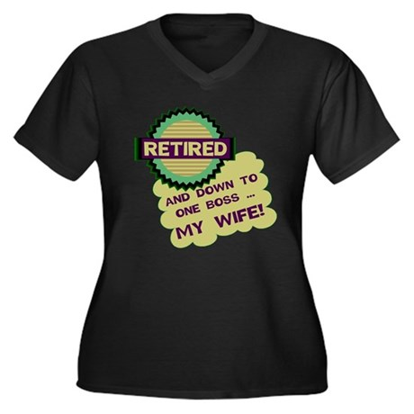 Retired With One Boss Women's Plus Size V-Neck Dar