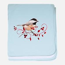 Chickadee baby blanket