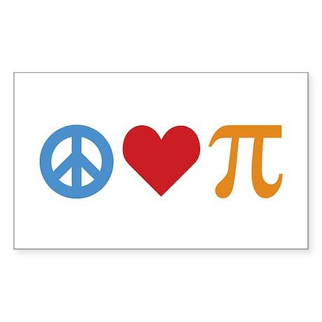 Peace Love Pi Sticker (Rectangle)