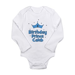 1st Birthday Prince CALEB! Long Sleeve Infant Body