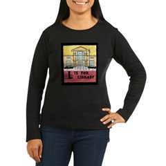 Women's L is for Library Long Sleeve Dark T-Shirt