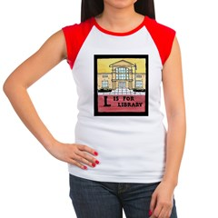 Women's Cap Sleeve L is for Library T-Shirt