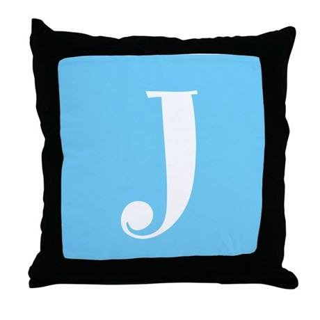 Blue Alphabet Blocks Throw Pillow - J