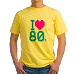 Corey Tiger 80s Retro I Love 80s Yellow T-Shirt