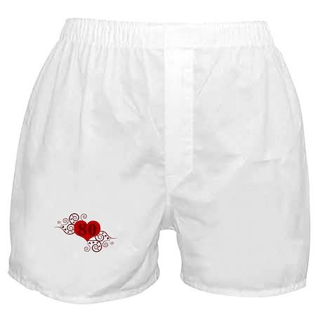80th Birthday Fancy Heart Boxer Shorts