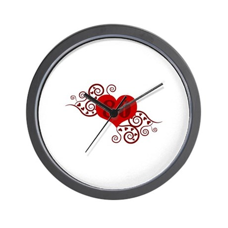 80th Birthday Fancy Heart Wall Clock