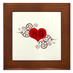 80th Birthday Fancy Heart Framed Tile