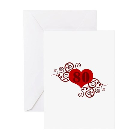 80th Birthday Fancy Heart Greeting Card