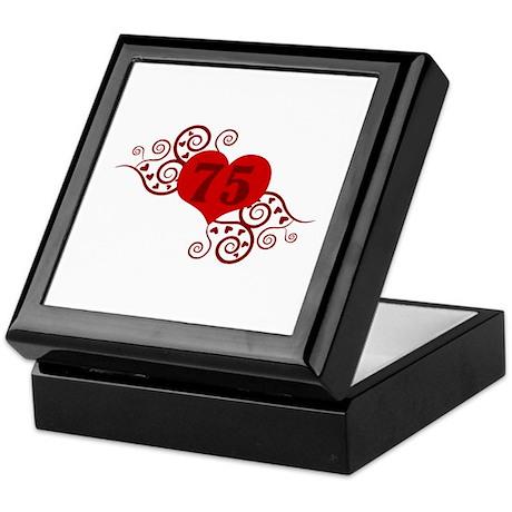 75th Birthday Fancy Heart Keepsake Box