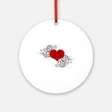 75th Birthday Fancy Heart Ornament (Round)