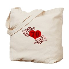 70th Birthday Fancy Heart Tote Bag