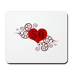 50th Birthday Fancy Heart Mousepad