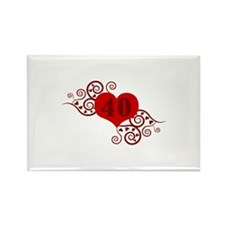 40th Birthday Fancy Heart Rectangle Magnet