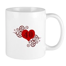 40th Birthday Fancy Heart Mug