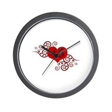 40th Birthday Fancy Heart Wall Clock