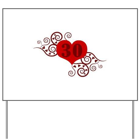 30th Birthday Fancy Heart Yard Sign