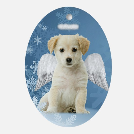 Angel Puppy Christmas Ornament (Oval)