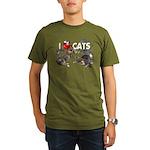 """Organic Men's T-Shirt (dark) """"I Love Cats&quo"""