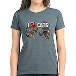 """Women's Dark T-Shirt """"I Love Cats"""""""