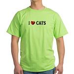 "Green T-Shirt ""I Love Cats"""