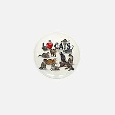 """I Love Cats"" Mini Button (100 pack)"