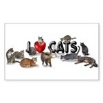 """I Love Cats"" Sticker (Rectangle 50 pk)"