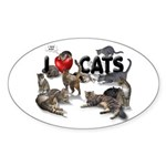 """I Love Cats"" Sticker (Oval 10 pk)"