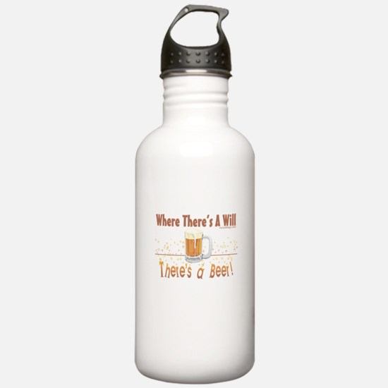 Where there's a will there's a beer Water Bottle