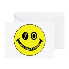 70th birthday smiley face Greeting Cards (Package
