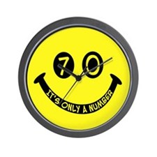 70th birthday smiley face Wall Clock