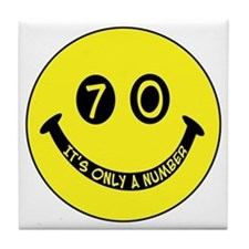 70th birthday smiley face Tile Coaster