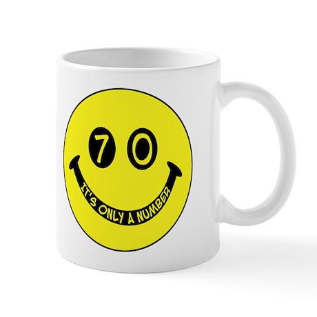 70th birthday smiley face Mug
