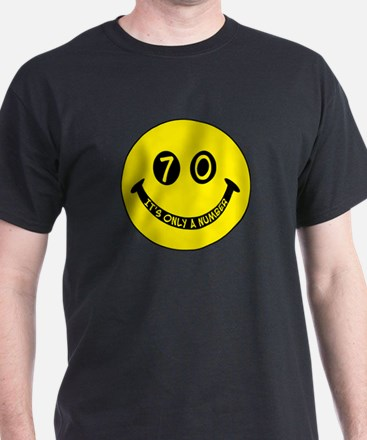70th birthday smiley face Black T-Shirt