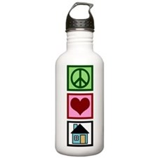 Peace Love Real Estate Sports Water Bottle
