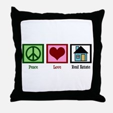 Peace Love Real Estate Throw Pillow